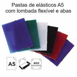 Pastas de elásticos A5 com lombada flexível e abas