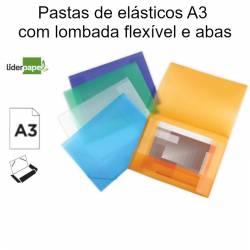 Pastas de elásticos A3 com lombada flexível e abas