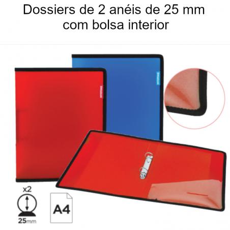 Dossiers de 2 anéis de 25 mm com bolsa interior
