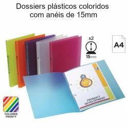 Dossiers plásticos coloridos  com anéis de 15mm
