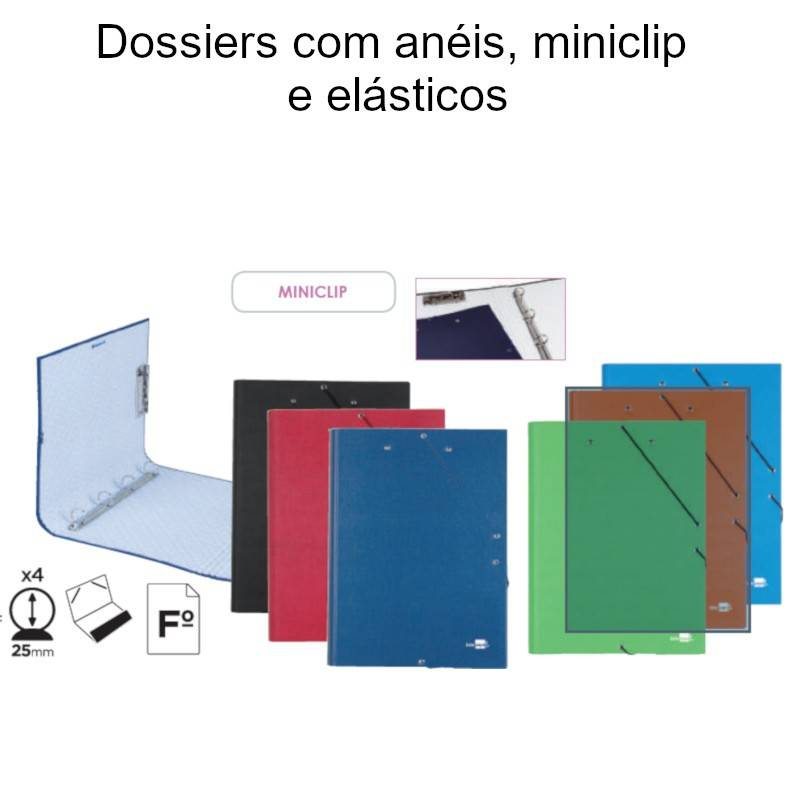 Dossiers com anéis, miniclip e elásticos