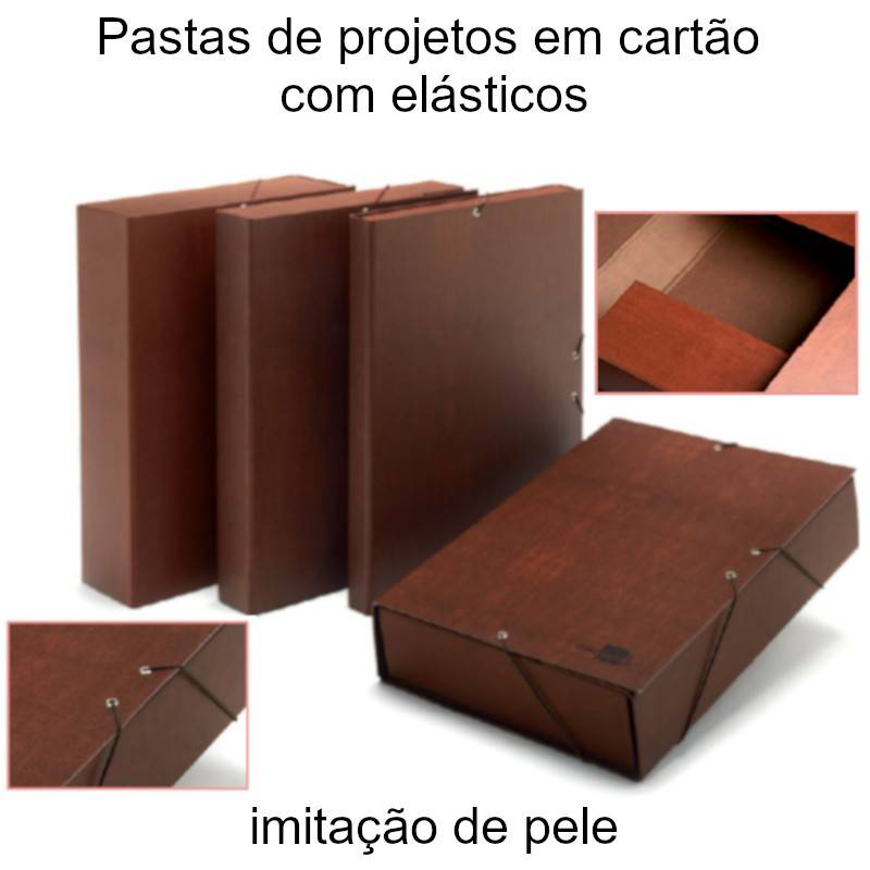 Pastas de projetos em cartão com elásticos