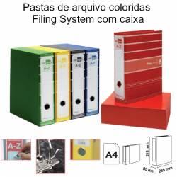 Pastas de arquivo coloridas Filing System com caixa