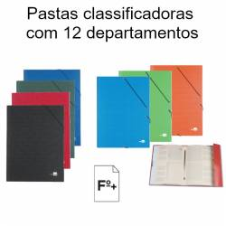 Pastas classificadoras com 12 departamentos
