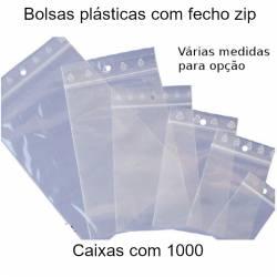 Bolsas plásticas com fecho zip - 1000 unidades