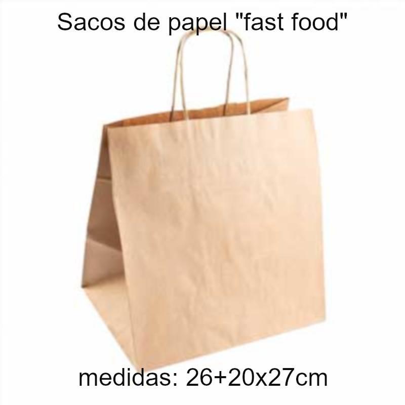 Sacos de papel com asa para transporte de refeições