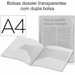Bolsas dossier A4 transparentes com dupla bolsa
