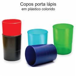 Porta lápis em plástico colorido