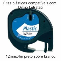 Fita compatível com Dymo Letratag 12mmx4mt -preto sobre plástico branco