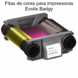 Fitas de cores para impressoras de cartões Evolis Badgy