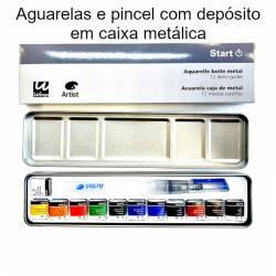 Aguarelas Artist Start 12 cores sortidas + pincel recarregável em caixa metálica