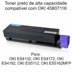 Toner preto compatível com OKI 45807116 alta capacidade 12K