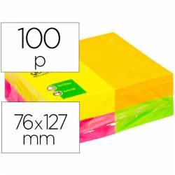 Blocos de notas adesivas 75x125mm cores fluorescentes